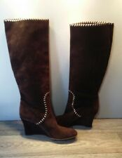 Gucci Womens Wedge Heel Suede Pull-On Knee High Boots Brown Size 8.5