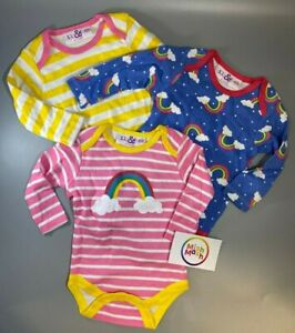 3 Pack  baby girls pink rainbow Long sleeve vests bodysuits Rompers Lily & Jack