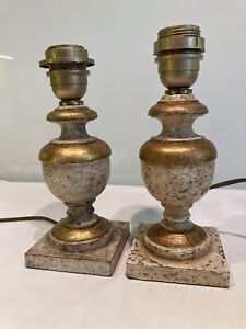 Pair Small Antique  Style Italian Gilt Decorated Painted Florentine Table Lamps