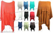 Ladies Italian Loose Fit Asymmetrical Lagenlook Boho Top Tunic One Size 12-20