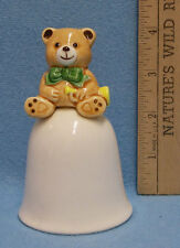 Vintage Mikasa Ceramic Dinner Bell w/ Bear on Top Holding a Horn Trumpet Cute