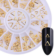 Gold Rivet Studs Nail Sparkle Triangle Frame Mixed 3D Nail Decoration in Wheel