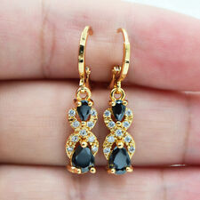 18K Yellow Gold Filled Women Teardrop Black Zircon Topaz Drop Earrings Cocktail