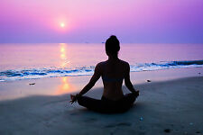 STUNNING YOGA ON THE BEACH SUNSET #231 QUALITY A1 CANVAS PICTURE WALL ART
