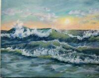 """Art14""""/11"""" storm,sunset, seascape,oil painting,landscape,waves,surf"""