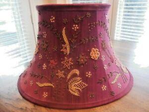 Shabby Chic Burgundy Fabric Bead Lampshade