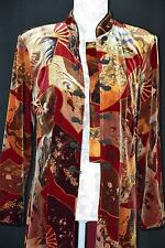 Clio Womens Medium Asian Print Velour Long Sleeve Knot Button Long Dress Jacket
