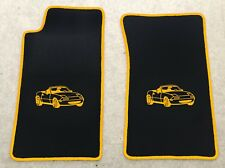 Autoteppich Fußmatten für Mazda MX 5 NA Miata Motiv schwarz gelb 2teilig Neuware