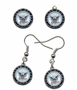 """US Navy (1/2"""" round emblem) earrings / charm / pin set *Cassie's Military Pins"""