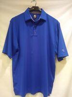 FJ (Footjoy) Men's Golf Polo Shirt Solid Lisle Collar- Berry Blue - Large