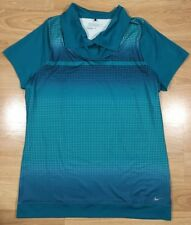 NIKE DRI FIT GOLF Shirt Womens Size Large Green And Blue