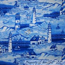 BonEful Fabric FQ Cotton Quilt VTG Blue Water Scenic Ocean Sea Beach Light*house