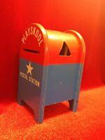 1960's Playskool Postal Station Mailbox w 19 Wood Toy Blocks Shape Mail Sorter