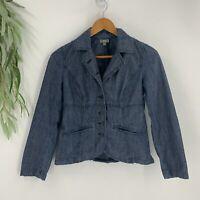 J.Jill Denim Blazer Womens Size 2 Blue Chambray Button Front Jacket Casual
