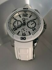 """Gently used Mens Guess White Chronograph Watch with silicon fits up to 9"""" wrist"""
