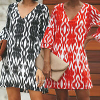 Summer Women Beach Dress V-neck Mini Cover Up Floral Holiday Frill Top Plus Size