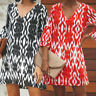 Women Loose Floral Beach Long Top Blouse T-shirt Tee Short Sleeve Mini Sun Dress