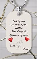 SIDE BY SIDE OR MILES APART PERSONALIZE CUSTOM DOG TAG PENDANT NECKLACE -