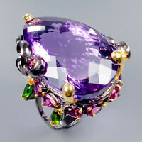 60ct+ IF AAA GEM Natural Amethyst 925 Sterling Silver Ring Size 9/R117372