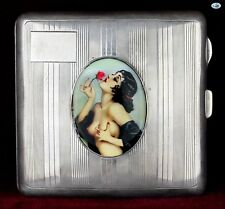 Antique 1930s British Silver Pictorial Enamel Cigarette Case of Alberto Vargas