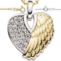 Herzkette ❤️Anhänger Engelsflügel Glück 925 Silber vergoldet Damen Geschenke