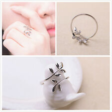 Fashion Women Silver Plated Jewelry Leaf Open Finger Ring Adjustable Size