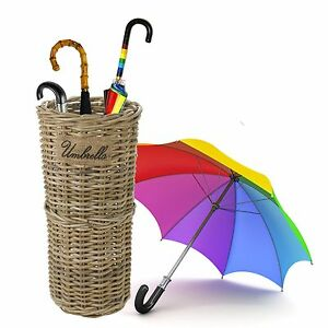 Kubu Rattan Wicker Weave Umbrella Stand Brolly Storage Basket Holder Bin Rack
