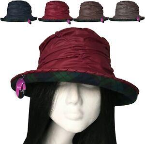 Wax Rain Hat Waxed Cotton Cloche Brim Tartan Lining Waterproof Ladies Country