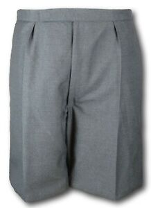 Classis School Grey Wool Worsted Uniform Short Trousers. Zip Fly & Elastic Back