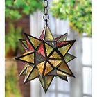 Metal Glass Moroccan Style Star Candleholder Lantern Outdoor Decor