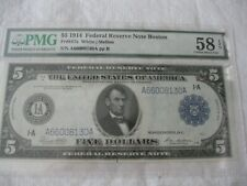 $5 1914  FRN #847a BOSTON  PMG CHOICE AB UNCIRCULATED 58  EPQ  WHITE / MELLON