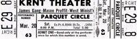 JAMES GANG~JOE WALSH 1971 THIRDS TOUR KRNT UNUSED GRAY CONCERT TICKET-NM~MINT