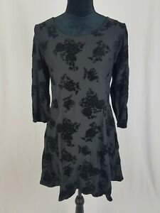 Planet Gold junior L fit and flare mini dress flocked 3/4 sleeve black
