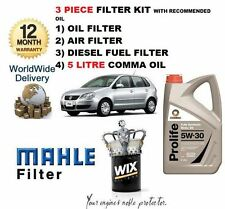 VW POLO 1.4 TDi  07/2005-2010 NEW SERVICE KIT OIL AIR FUEL FILTER SET & 5LTR OIL