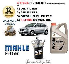 VW POLO 1.4 TDi 07/05-10 KIT MANUTENZIONE OLIO ARIA CARBURANTE FILTRO SET & 5LTR