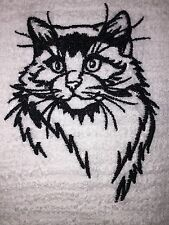 Embroidered Kitchen Bar Hand Towel Sketched  Cat SIlhouette- Ragdoll BS0652
