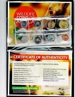 15 Different African Nations Wildlife Coins Certificate of Authenticity,Album