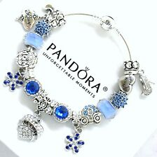 Authentic PANDORA Bracelet Sterling Silver MOM BLUE European Charms Christmas