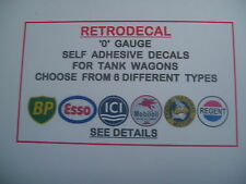 RETRODECAL 6 TYPES '0' Gauge Self Adhesive Decals for Tank wagons,Esso,BP,ICI...