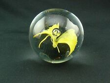 Vintage Yellow Butterfly Paperweight Small Round with Air Bubble