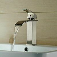 Brushed Nickel Bathroom Basin Faucet Single Hole Sink Mixer Tap Deck Mounted