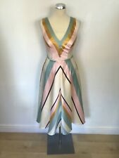 MONSOON PASTEL ASYMMETRIC STRIPE FIT & FLARE SPECIAL OCCASION DRESS SIZE 8