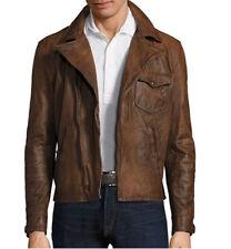 a23a6f553 Polo Ralph Lauren Men Vtg Hand-Distress Leather Moto Biker Rider Newsboy  Jacket