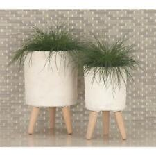 Modern Fiber Clay Wood Planters 3-Pack Indoor Outdoor Garden Pot Home Decor