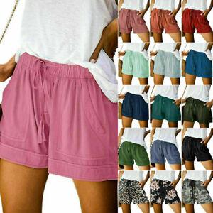 Plus Size Women Elastic Waist Drawstring Hot Pants Ladies Summer Casual Shorts A