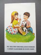 Postcard Vintage 1960s Cute Children Boy & Girl Dandelion Clock Puppy Dog Unused