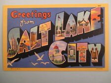 LARGE LETTER GREETINGS FROM SALT LAKE CITY POSTCARD A17
