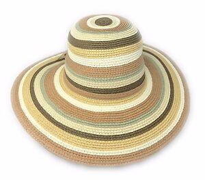 50's / 60's Lady's Stripy Straw Sun Hat 'Bardot' Style - One Size- 10cm Brim