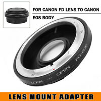 FD-EOS Mount Adapter For Canon FD Lens to Canon EOS EF Glass Focus Infinity +Cap