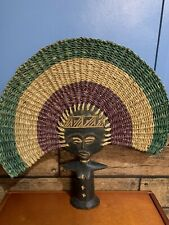 Vtg Large African (Ghana) Ashanti Fertility Doll In Carved Wood & Woven Head Pc